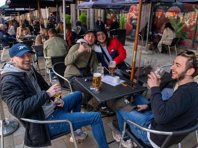 Enjoying a beer at the New Conservatory in Leeds as non essential shops and services re-open following easing of Covid lockdown measures (photo: Bruce Rollinson).