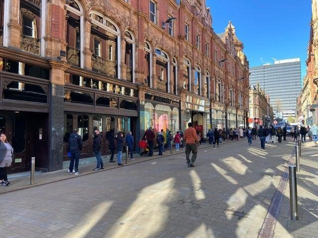 Debenhams in Leeds city centre has long queues for its closing down sale on reopening day.