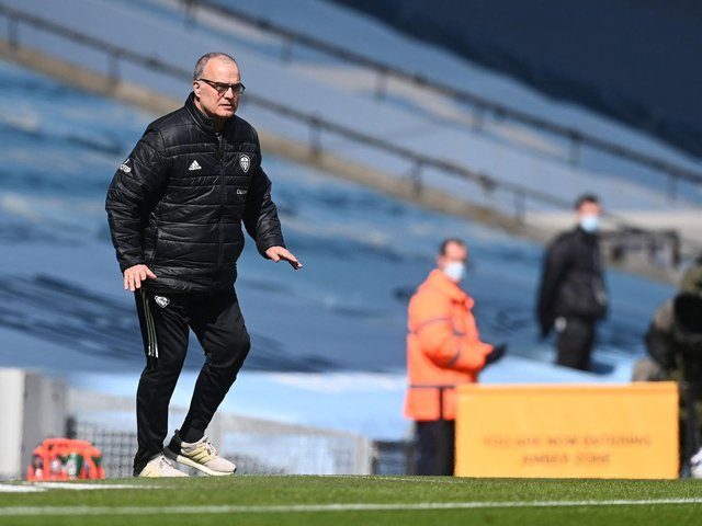 THE BIGGER PICTURE: Leeds United head coach Marcelo Bielsa during Saturday's superb 2-1 victory against Manchester City at the Etihad. Photo by MICHAEL REGAN/POOL/AFP via Getty Images.