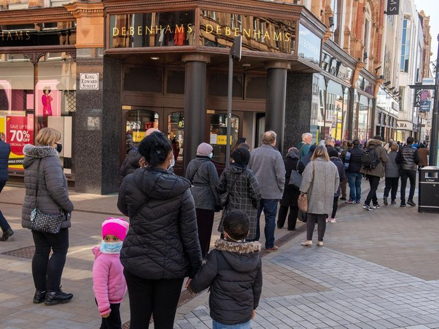 Queues outside Debenhams as shops reopen on April 12, 2021. (photo: Bruce Rollinson)