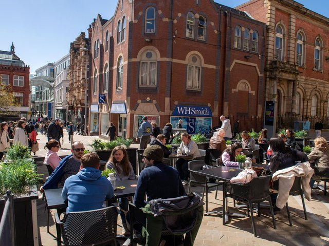 Outdoor dining and drinking reopened in Leeds today (April 12) as people flocked to the city centre (photo: Bruce Rollinson)