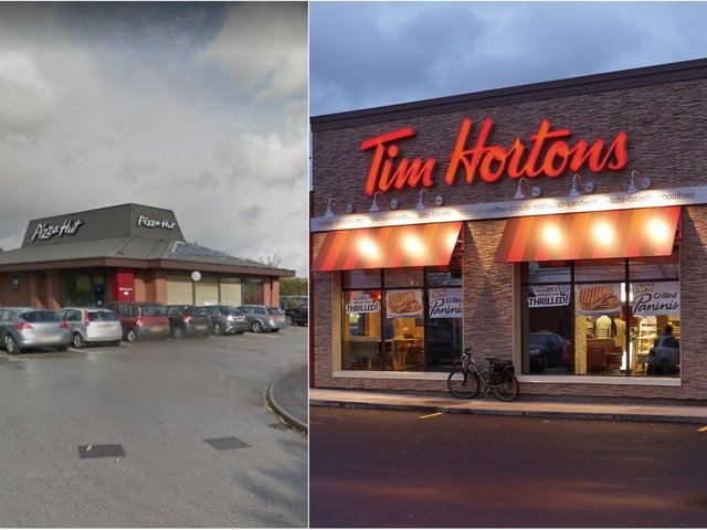 Pizza Hut in Birstall which is being replaced by Tim Hortons, right. Photo: Tim Hortons