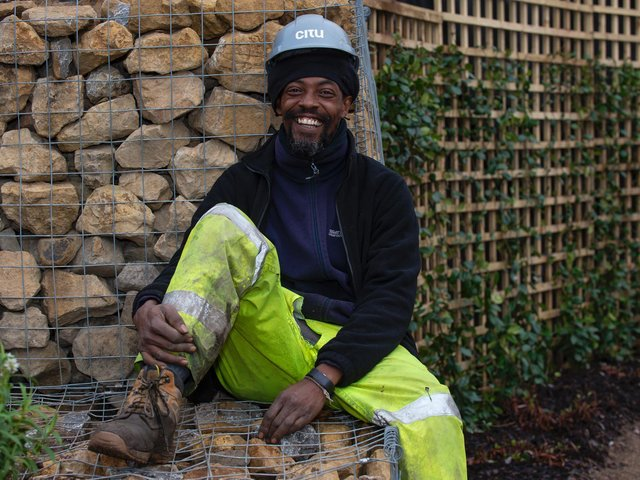 Claude Yearwood is the gardener at the Climate Innovation District in Leeds. Photo: Mark Webster