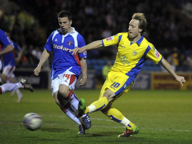 CRUCIAL DOUBLE: For Leeds United striker Luciano Becchio, right, on April 13, 2010 in a 3-1 victory at Carlisle United in League One. Picture by Varleys.