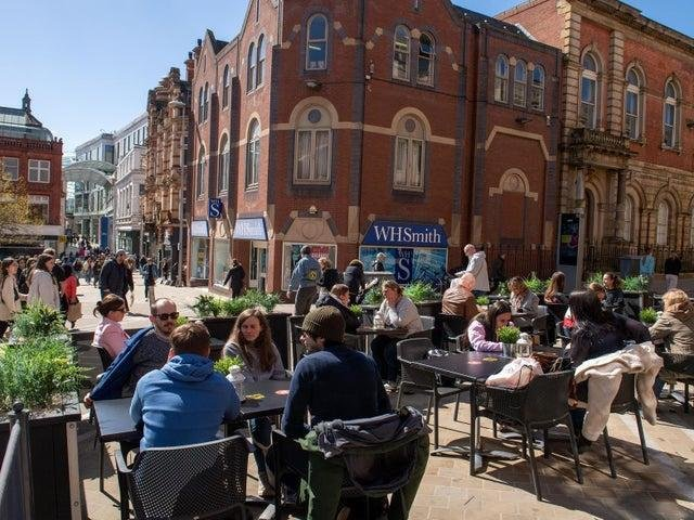 Pubs and restaurants are full in Leeds as they reopen on April 12, 2021. (photo: Bruce Rollinson)