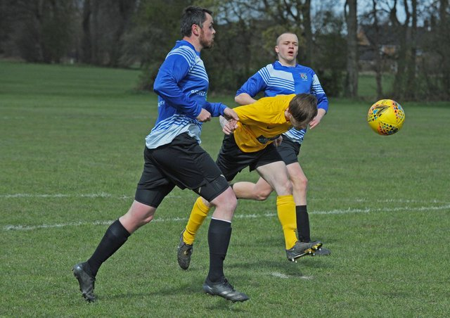 Max Bullard heads in the opening goal in North Leodis' 6-0 Leeds Combination Division 4 win at Headingley Rovers Res. Picture: Steve Riding.