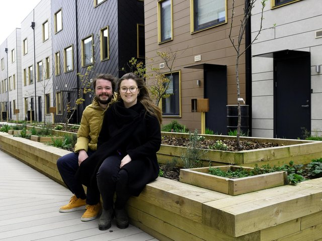 Bridie Sprouts and Kris Hollard are two new homeowners at the Citu Climate Innovation District. Photo: Gary Longbottom