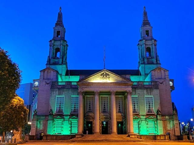 Leeds Civic Hall lit up in green for Ramadan (photo: Leeds City Council).