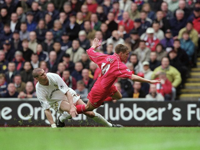 MEMORIES: Dom Matteo, left, taking on his former side and first club Liverpool for Leeds United and tangling with Michael Owen, right, in the Premiership clash at Anfield of April 2001. Photo by Clive Brunskill/Allsport via Getty Images.