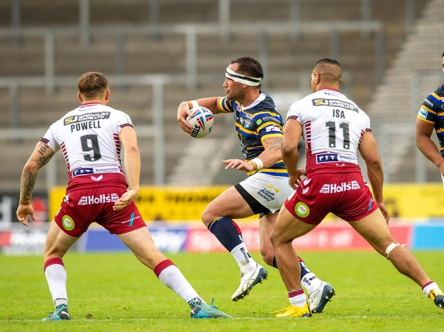 Bodene Thompson made his Rhinos debut in last year's Super League loss to Wigan. Picture by Bruce Rollinson.