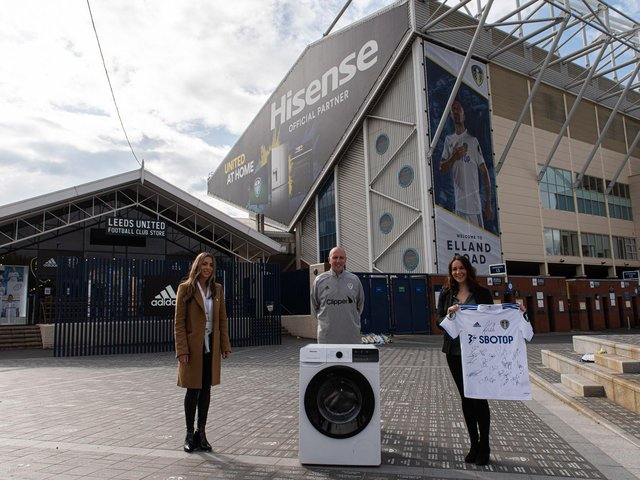 Leeds United signed shirt and washing machine to be given to family in need cc Hisense