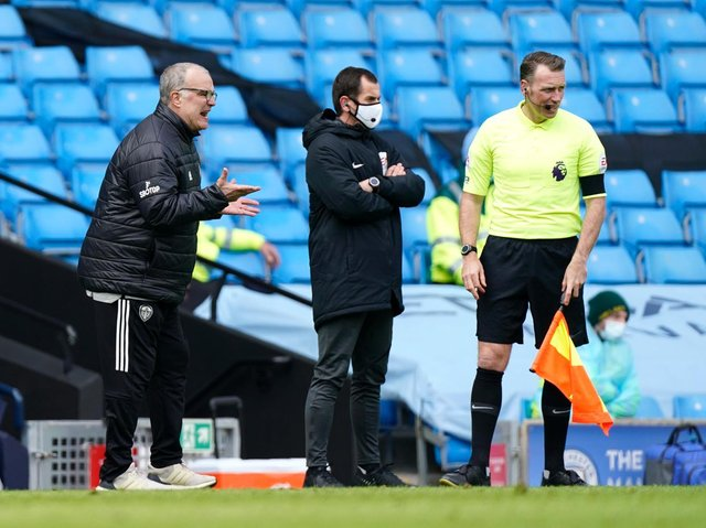 Leeds United head coach Marcelo Bielsa at Manchester City. Pic: Getty