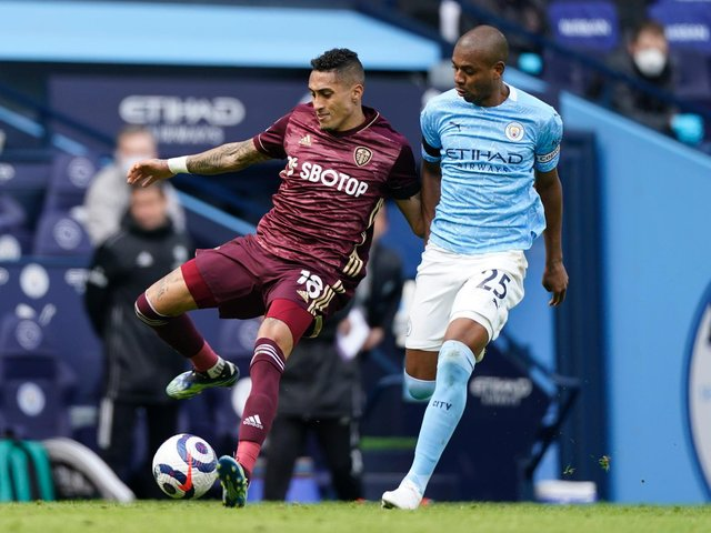 Leeds United winger Raphinha in action against Manchester City. Pic: Getty