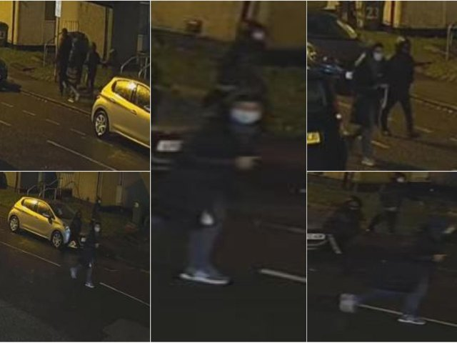 West Yorkshire Police officers released these CCTV images of a group of people they would like to speak to in connection with a shooting in Woodhouse.
