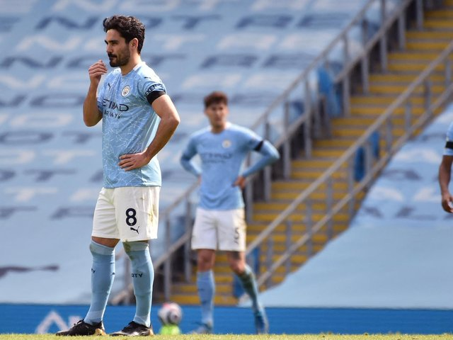 Manchester City midfielder Ilkay Gundogan reacts during defeat to Leeds United. Pic: Getty