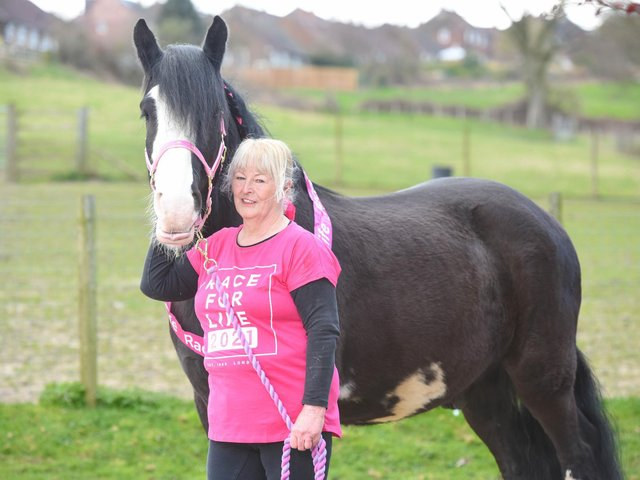 Catherine Meeson with therapy horse, JD.