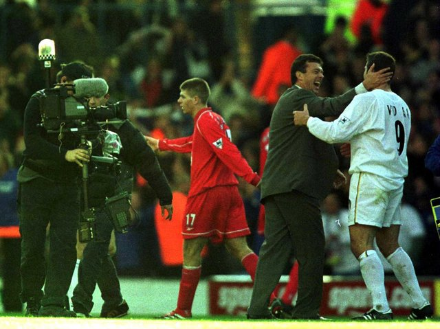Leeds United manager David O'Leary celebrates with striker Mark Viduka at Elland Road. Pic: Getty