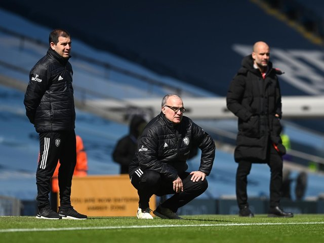 NOT REAL: Leeds United head coach Marcelo Bielsa, centre, has responded to claims in Argentina that he is about to sign a new two-year-deal with the Whites. Photo by Michael Regan/Getty Images.