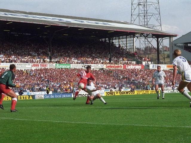 Carl Shutt fires home at Elland Road against Liverpool.