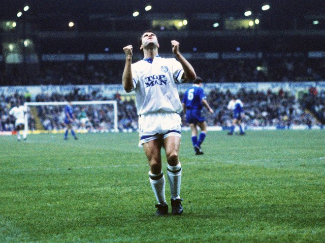 Leeds United striker Carl Shutt reacts at Elland Road. Pic: Varley picture agency