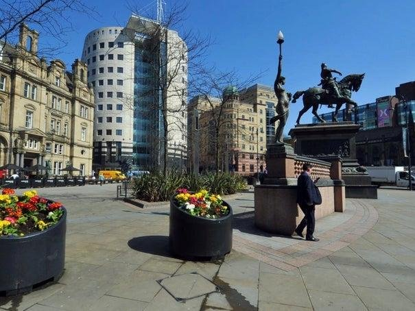 Leeds City Square has been largely empty for months...