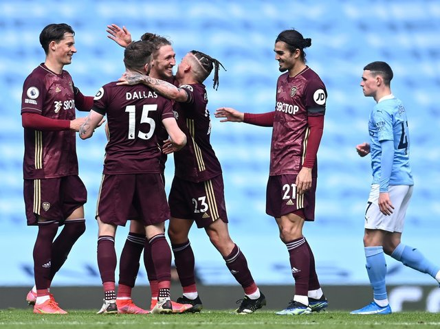 Leeds United celebrate at Manchester City post-match. Pic: Getty