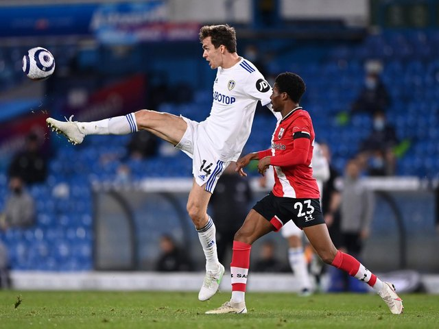 START OF THE RUN: Leeds United centre back Diego Llorente, left, in the first of seven consecutive full Whites games in a row against Southampton at Elland Road in February. Photo by Laurence Griffiths/Getty Images.