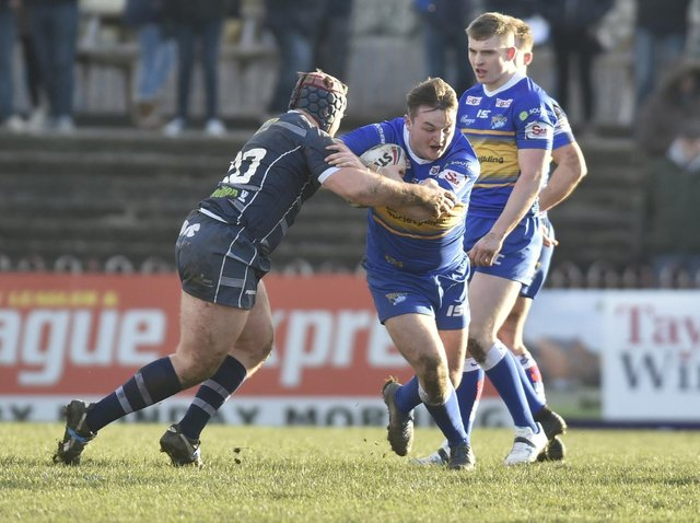 Loui McConnell, with ball, has joined Hunslet on loan from Featherstone. Picture by Steve Riding.