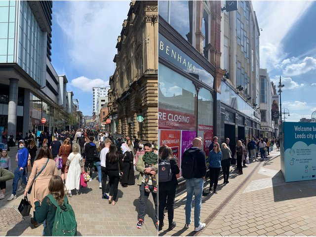 Long queues have been seen at Debenhams as shoppers flood back into the city centre
