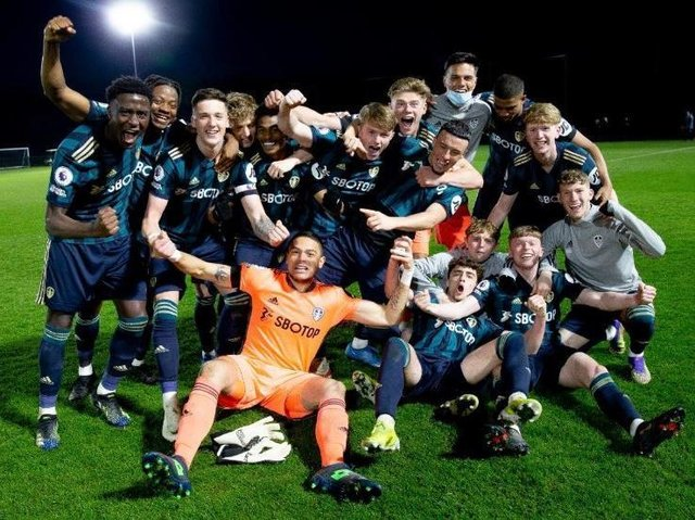 Leeds United's Under-23s celebrate winning the Premier League 2 Division Two title at Aston Villa. Pic: LUFC