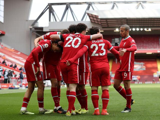Liverpool celebrate at Elland Road. Pic: Getty