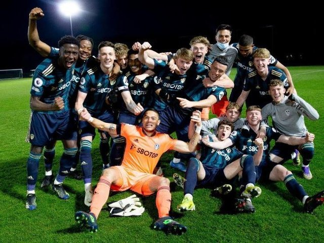 Leeds United's Under-23s celebrate promotion. Pic: LUFC