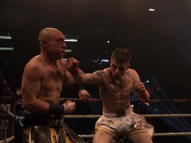 THRILLER: McHugh throws a punch during the bareknuckle bout. Picture: Brooklyn Freeman.