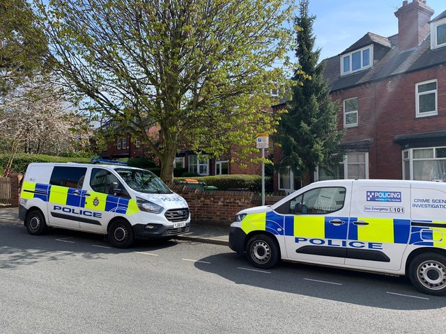 St Michael's Lane Headingley police incident: Multiple police vans, cars and CSIs in police cordon