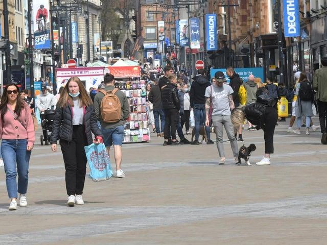 Leeds city centre on Sunday