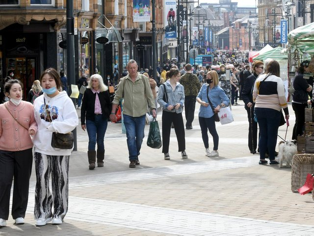 Leeds city centre as hospitality and non-essential shops reopened on the first weekend.