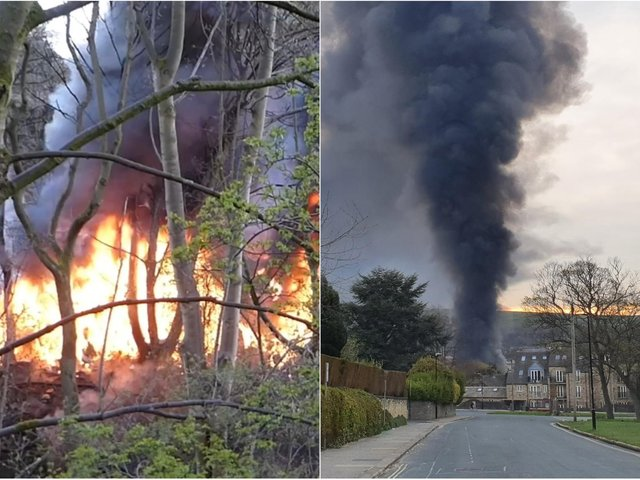 Halifax fire: The flames and smoke can be seen for miles around. Photos: Chris Battye/Tim Robinson