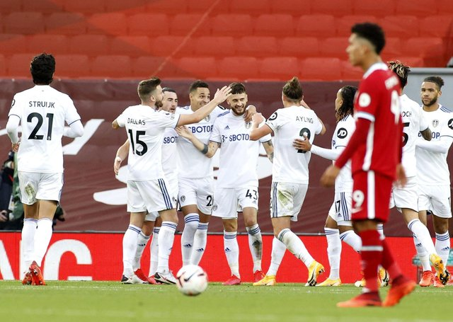 FLASHBACK: Leeds United's Mateusz Klich, centre, celebrates scoring his side's third goal against Liverpool in September. Picture: Phil Noble/PA Wire.