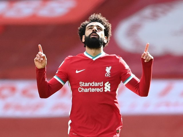 CLEAR CHIEF THREAT: Liverpool's 19-goal striker Mo Salah is favourite to score first in Monday night's Premier League clash between Leeds United and Liverpool at Elland Road. Photo by LAURENCE GRIFFITHS/POOL/AFP via Getty Images.