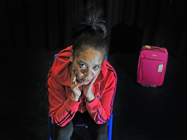 Leeds poet Michelle Scally Clarke pictured in 2017 during a one-woman show commissioned by social change organisation, Space2, to tackle the stigma surrounding mental health issues in young people. Picture Tony Johnson.