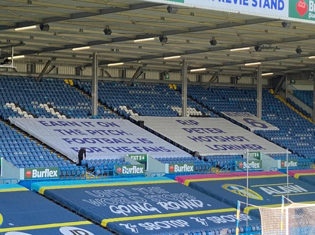 Leeds United unveil European Super League banner for Liverpool clash. Picture: Jonathan Buchan (BBC Radio Leeds)