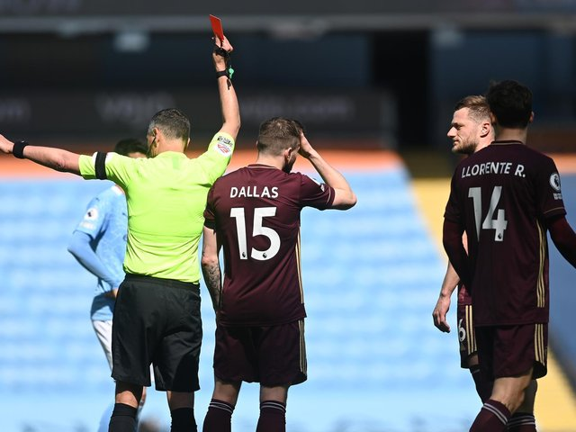 'CALAMITOUS' CALL: Leeds United captain Liam Cooper is sent off in last weekend's 2-1 victory at Manchester City. Photo by Michael Regan/Getty Images.
