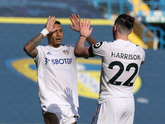 STRAIGHT SWAP: For Leeds United wingers Raphinha, left, and Jack Harrison, right. Photo by CARL RECINE/POOL/AFP via Getty Images.