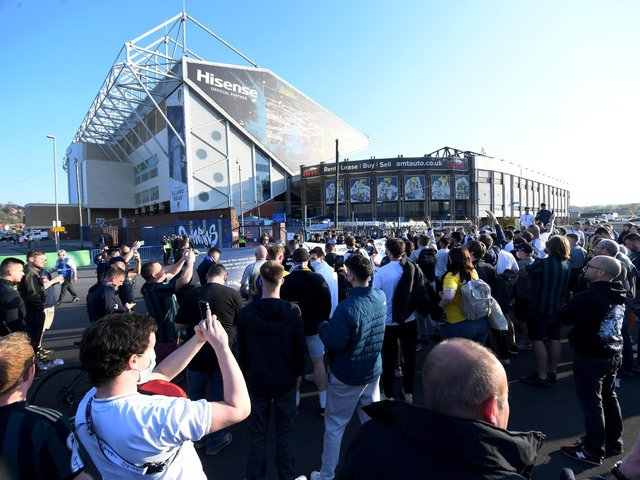Fans gather outside Elland Road