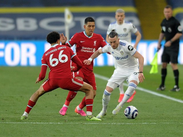 WELL STRUCK - Jack Harrison's corner was met by Diego Llorente for Leeds United's leveller against Liverpool at Elland Road. Pic: Simon Hulme
