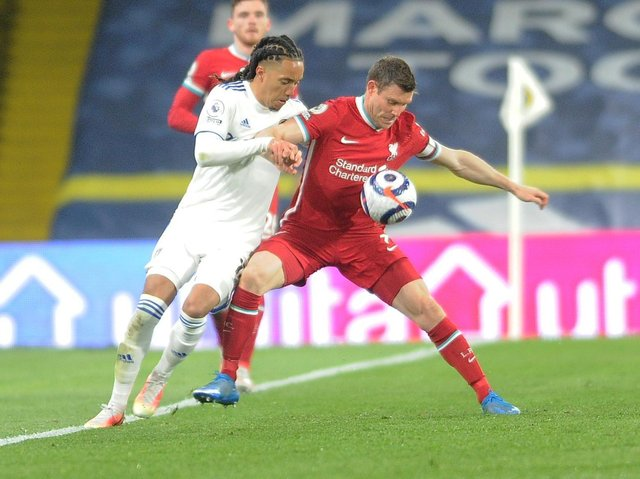Liverpool utility man James Milner in action against Leeds United. Pic: Simon Hulme