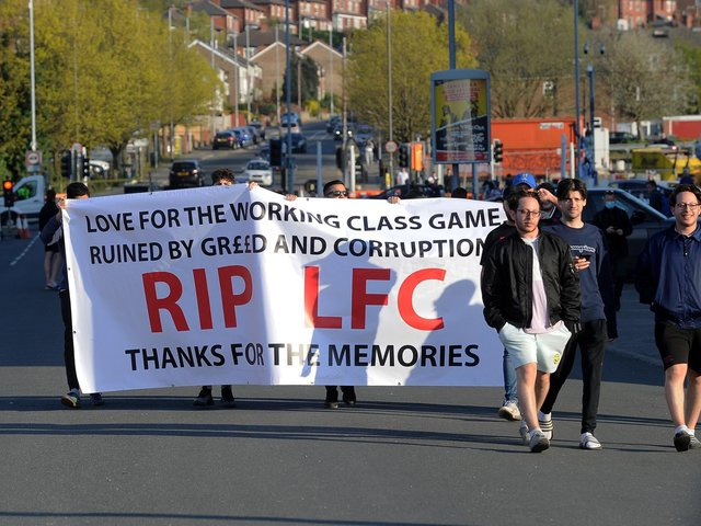 UPROAR: Fans gather to protest outside Elland Road at the European Super League concept before Monday night's Premier League clash between Leeds United and Liverpool. Picture by Simon Hulme.