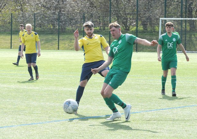 Ryan Houghton was among the scorers for Mount St Marys in their 6-4 Premier win at Gildersome Spurs OB. Picture: Steve Riding.