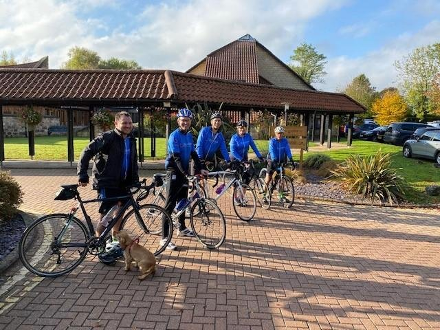 A team of cyclists from Brown Butler outside Martin House Hospice, from their fundraising ride in 2020, which helped the accountancy firm raise £3,921 for the charity last year.