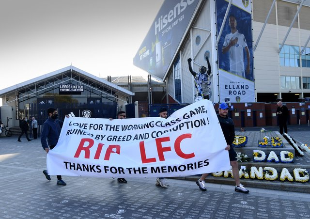 Fans gather to protest against the European Super League outside Elland Road on Monday (Picture: Simon Hulme)